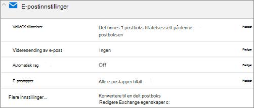 Skjermbilde: Konvertere brukerens postboks til delt postboks
