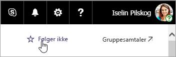 Et skjermbilde av Følg opp-knappen på et SharePoint-nettsted.