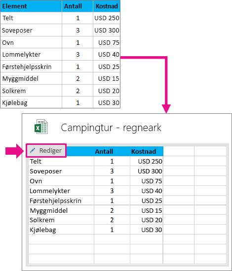 Konvertere en tabell til Excel
