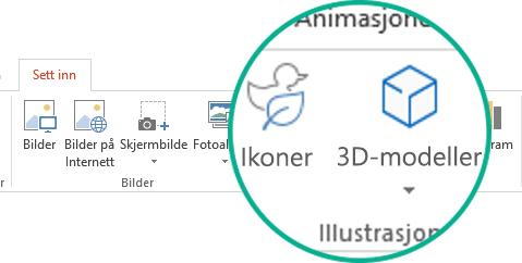 Knappene for ikoner og 3D-modeller på Sett inn-fanen på båndet på Office 365-verktøylinjen