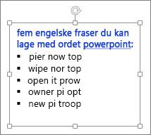 Formatering i en PowerPoint-tekstboks