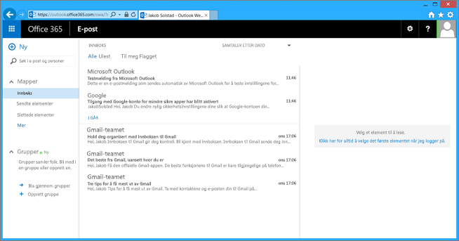 Når du importerer e-post fra *.pst-filen, vises den i OWA også
