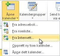 Kommandoen for å åpne kalender fra Internett på båndet