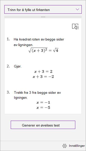 Løsnings trinn i oppgave ruten med matematikk assistent