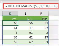TILFELDIGMATRISE-funksjonen med minimums-, maksimums- og heltallsargumenter