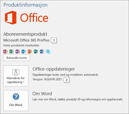 Skjermbilde av kontosiden som viser Office-produktnavnet og hele versjonsnummeret
