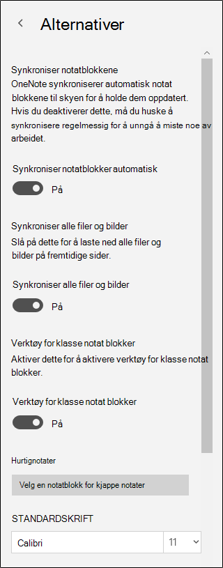 Alternativer for Class Notebook verktøy