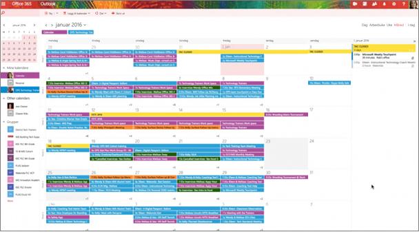 Eksempel på en gruppe kalender med farge koding for å angi ulike grupper