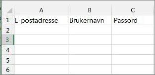 Celleoverskrifter i Excel-overføringsfilen.