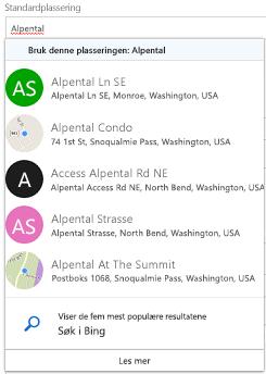 Foreslått plasseringer tilbys gjennom Bing