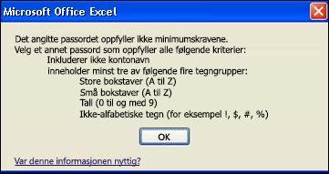 Feilmelding som vises når for få typer tegn brukes i et passord