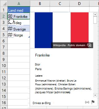 Celle med koblet oppføring for Frankrike; markøren klikker på ikonet; kortet vises