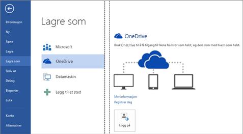 Lagre en fil på OneDrive