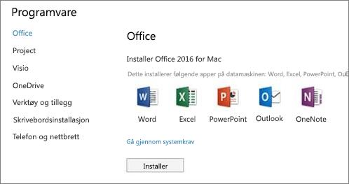 Skjermbilde av innstillinger for installering av Office 365-programvare på Mac