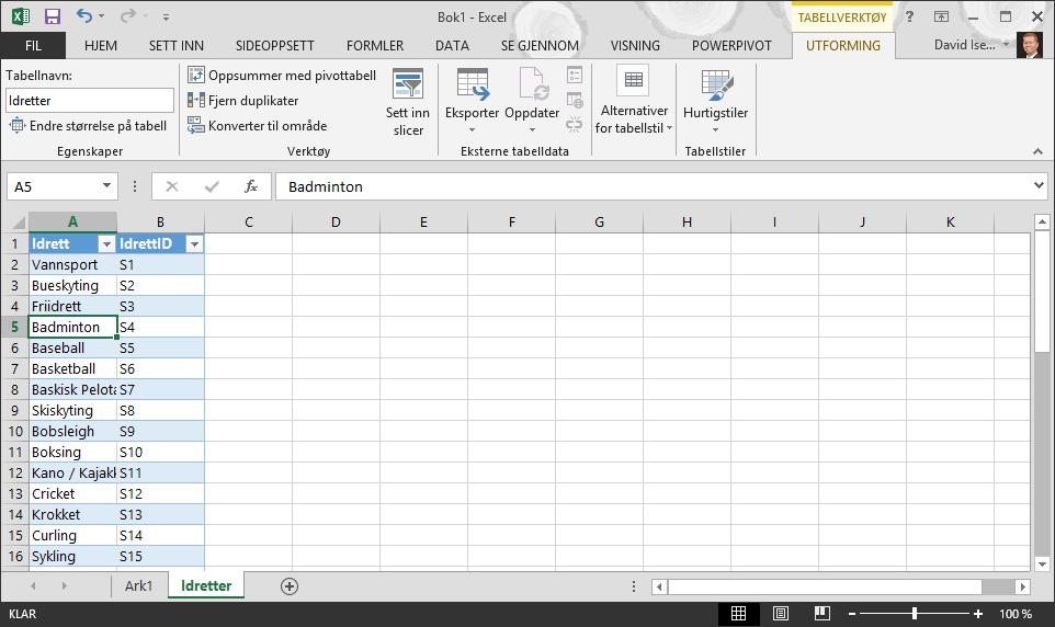 Navngi en tabell i Excel