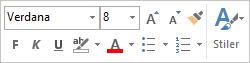 Miniverktøylinjen for formatering av meldingstekst