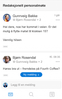 Ny samtaleopplevelse i Outlook for iOS
