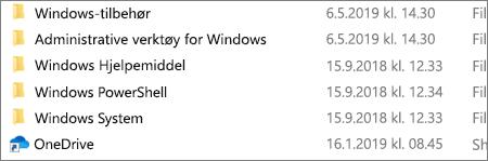 Et skjermbilde som viser OneDrive-programmet i Filutforsker.