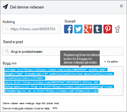 Eksempel på hvordan du bruker innebyggingskode til å bygge inn innhold på SharePoint-siden