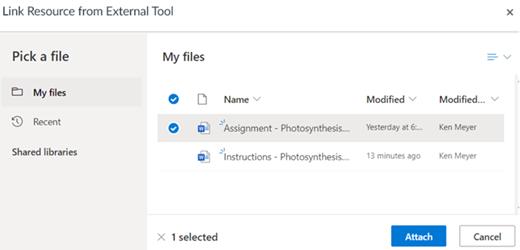Koblet ressurs fra et eksternt verktøy velger en fil som skal legges ved