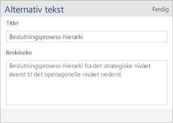 Skjermbilde av dialogboksen for  alternativ tekst i Word Mobile som inneholder Tittel- og Beskrivelse-felt.