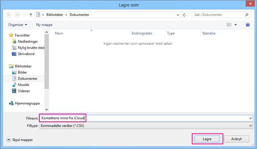Skriv inn et navn for csv-filen, og velg deretter Lagre.