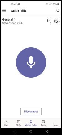 Hovedskjermen for Walkietalkie prat Android