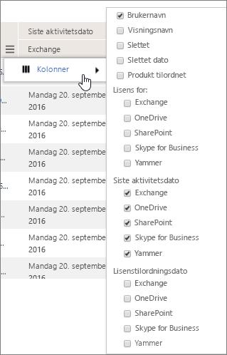 Filteralternativer på brukernivå