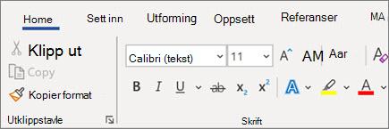 Legge til og formatere tekst i Word