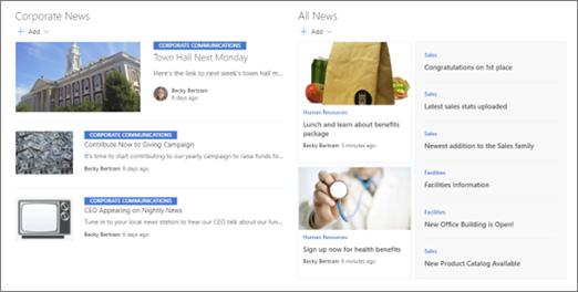 Eksempel på fremhevede nyheter på et hub-område