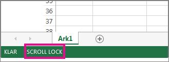 Scroll Lock vises i nedre venstre hjørne av skjermen