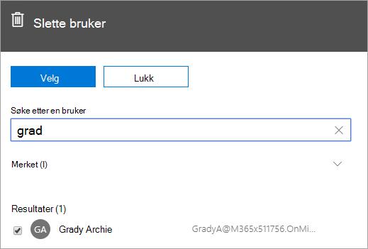 Skjermbilde som viser kommandoen for å slette en bruker i Office 365-administrasjon.