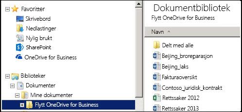 Samlemappen etter at filene har blitt flyttet fra en synkronisert mappe på SharePoint OneDrive for Business