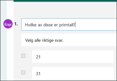 Bidragsyter Initialer vises ved siden av testspørsmålet