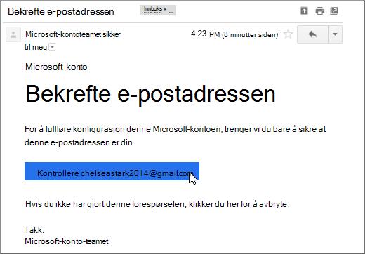 Bekreft e-postadressen
