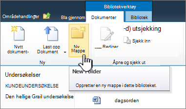 Båndet i SharePoint 2010-dokumenter med den nye mappen uthevet