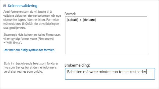 Kolonnen validering dialogboks med felt fylt ut med eksempeldata