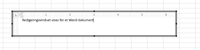 Du kan redigere det innebygde Word-dokumentet direkte i Excel.