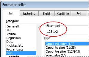 Eksempel-boksen valgt i dialogboksen Formater celler