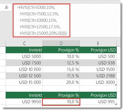 Formelen i celle D9 er ute av rekkefølge som =HVIS(C9>5000,10%,HVIS(C9>7500,12.5%,HVIS(C9>10000,15%,HVIS(C9>12500,17.5%,HVIS(C9>15000,20%,0)))))