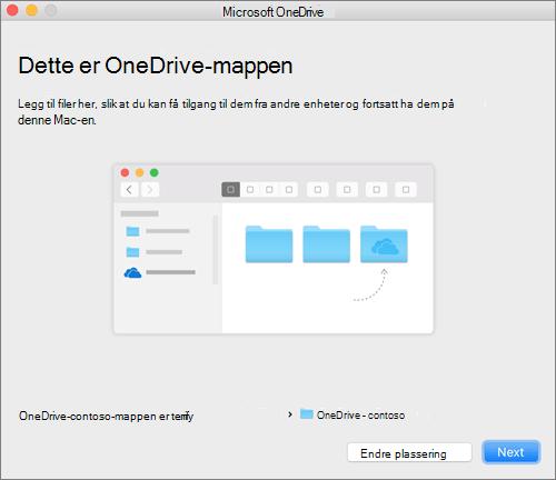 Skjermbilde av siden Dette er OneDrive-mappen din etter at du har valgt en mappe i veiviseren Velkommen til OneDrive på Mac