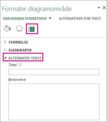 Kategorien Størrelse og egenskaper i ruten Formater diagramområde