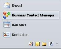 Knappen Business Contact Manager i navigasjonsruten
