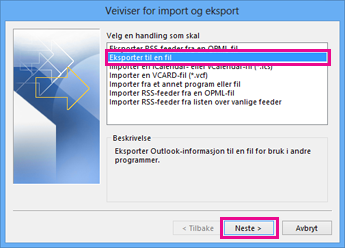 Veiviser for eksport for Outlook – Eksporter til en fil