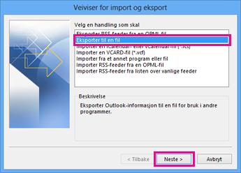 Veiviser for eksport for Outlook – Eksporter til en fil