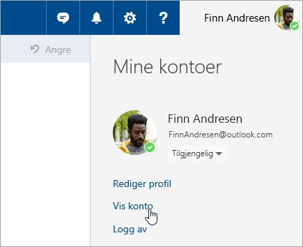 Et skjermbilde av Vis konto-knappen.