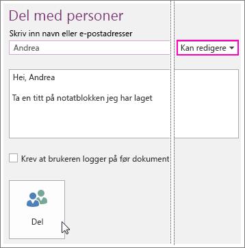 Skjermbilde av brukergrensesnittet Deling i OneNote 2016.