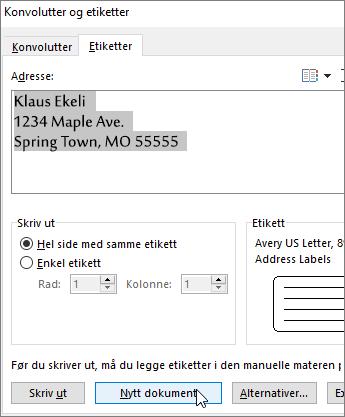 Oppdater innholdet i Adresse-boksen i dialogboksen Konvolutter og etiketter, og velg deretter Nytt dokument.
