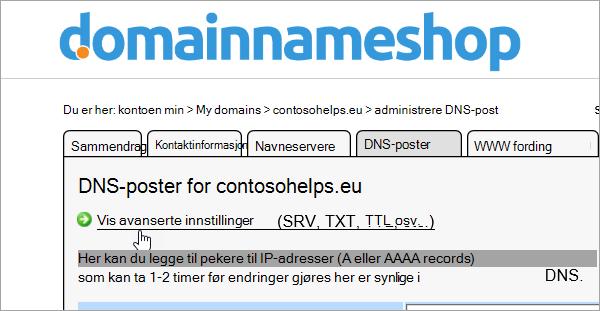 Vis avanserte innstillinger i Domainnameshop