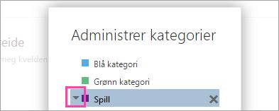 Et skjermbilde av pilen ved siden av en kategori